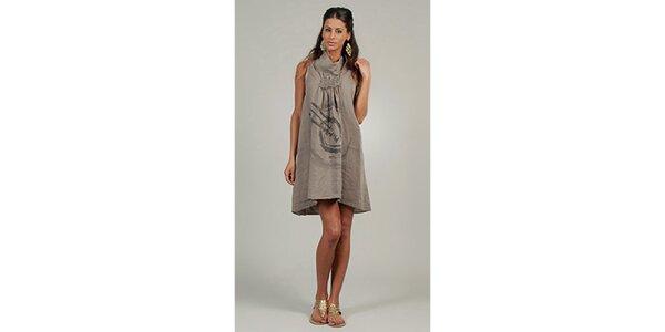 Dámske šedo-béžové ľanové šaty s potlačou Lin Nature
