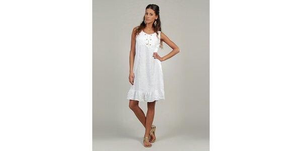 Dámske biele ľanové šaty s gombíčkami Lin Nature