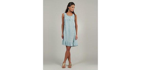 Dámske svetlo modré ľanové šaty s gombíčkami Lin Nature