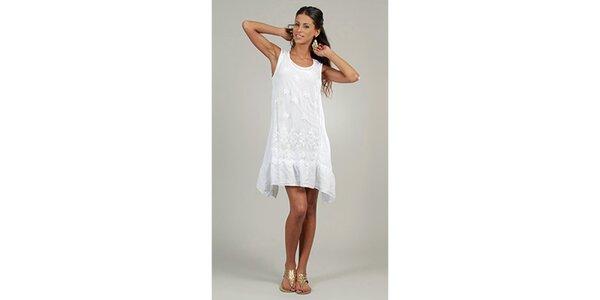 Dámske biele ľanové šaty s čipkovým predným dielom Lin Nature