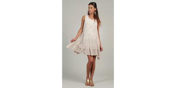 Dámske béžové ľanové šaty s čipkovým predným dielom Lin Nature