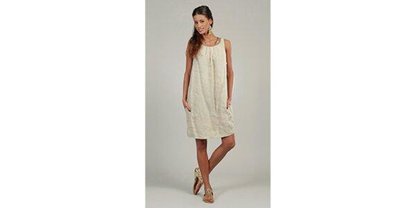 Dámske béžové ľanové šaty s trblietavým výstrihom Lin Nature