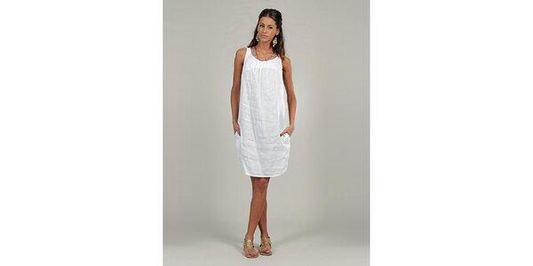 Dámske biele ľanové šaty s trblietavým výstrihom Lin Nature