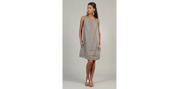 Dámske šedé ľanové šaty s trblietavým výstrihom Lin Nature