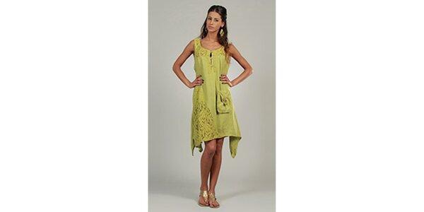 Dámske anýzové šaty s čipkovými detailami a vreckom Lin Nature