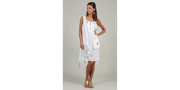 Dámske biele šaty s čipkovými detailami a vreckom Lin Nature