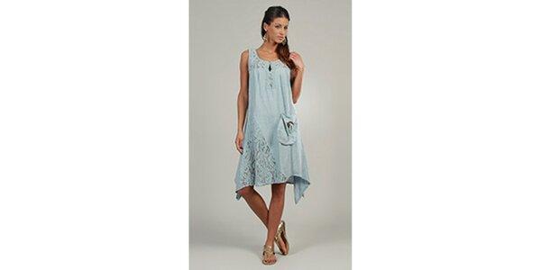 Dámske svetlo modré šaty s čipkovými detailami a vreckom Lin Nature