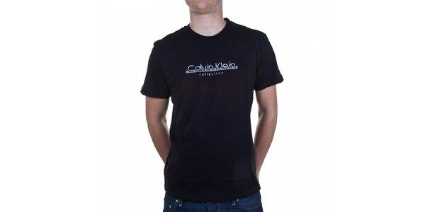 Pánske čierne tričko Calvin Klein s potlačou