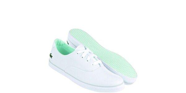 Dámske bielo-zelené textilné tenisky Lacoste