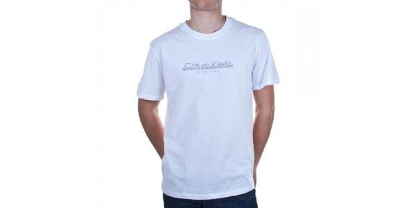 Pánske biele tričko Calvin Klein s potlačou