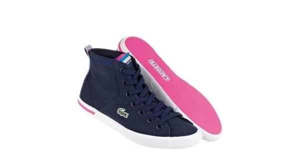 Dámske modro-ružové textilné kotníkové tenisky Lacoste