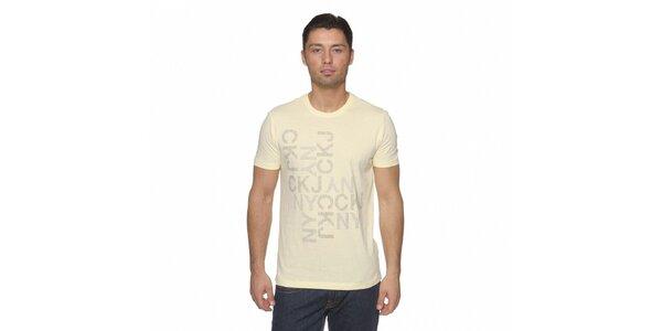 Pánske svetlo žlté tričko Calvin Klein s potlačou