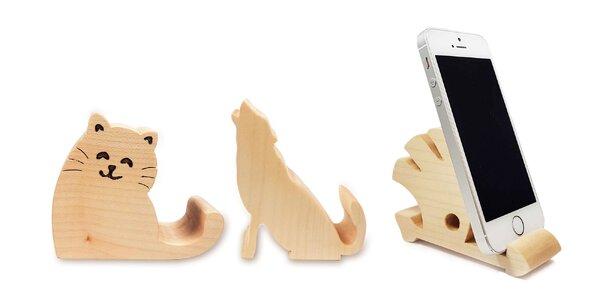 Veselé drevené stojany na mobil