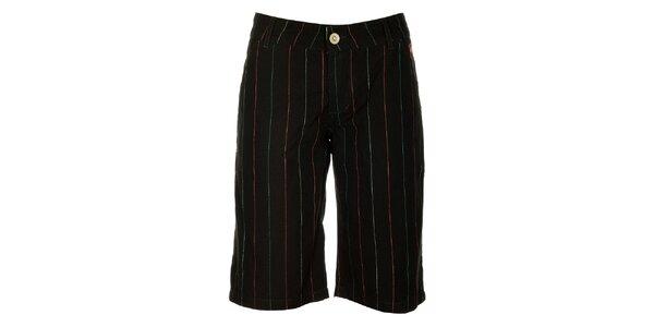 Dámske čierne šortky s farebnými prúžkami Fundango