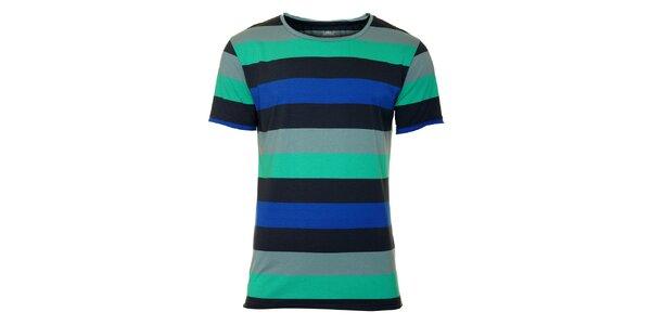 Pánske čierno-šedé tričko Fundango s farebnými prúžkami