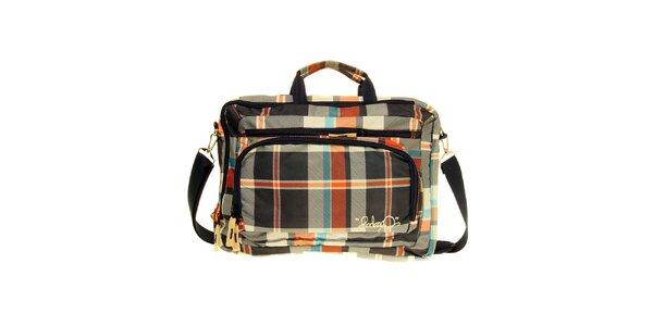 Modro-oranžová kockovaná taška na notebook Fundango
