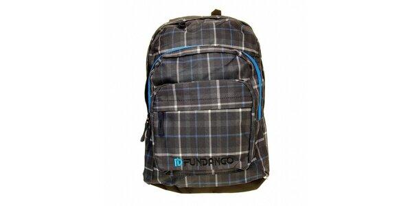 Pánsky šedo-modrý kockovaný batoh s logom Fundango