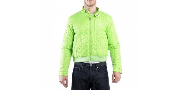 Pánska neonovo zelená prešívaná bunda Calvin Klein