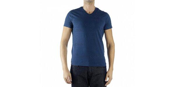 Pánske tmavo modré tričko Calvin Klein s potlačou