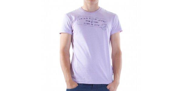 Pánske svetlo fialové tričko Calvin Klein s potlačou