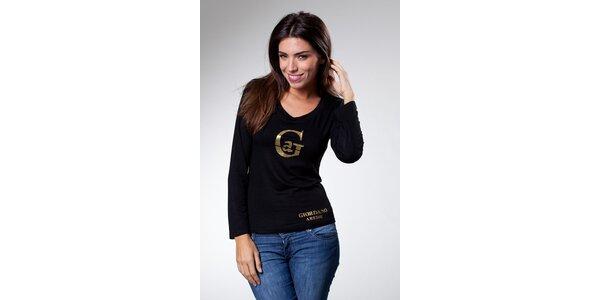 Dámske čierne tričko Caniche so zlatou potlačou