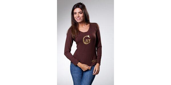 Dámske tmavo hnedé tričko Caniche so zlatou potlačou