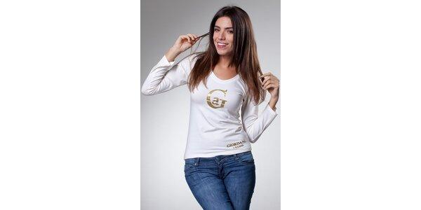 Dámske biele tričko Caniche so zlatou potlačou