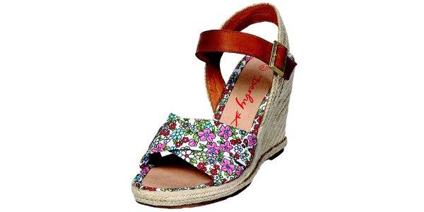 Dámske biele sandále Derhy s kvetinovým vzorom
