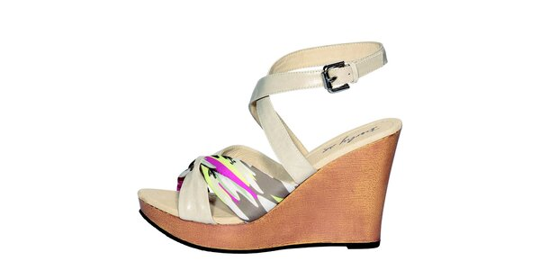 Dámske béžové sandále Derhy s farebnou potlačou