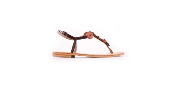 Dámske hnedo-oranžové sandálky Les Tropeziennes