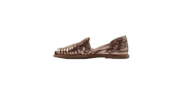 Dámske zlaté remienkové topánky Les Tropeziennes