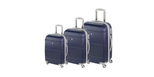 Set troch tmavo modrých kufrov na koliečkach Valisa