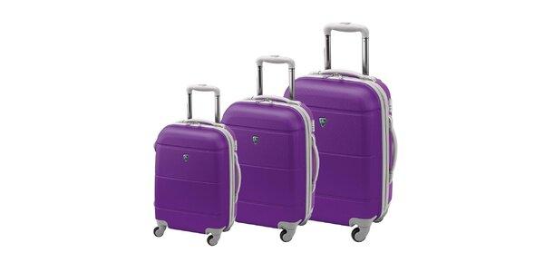 Set troch tmavo fialových kufrov na koliečkach Valisa