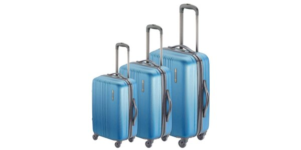 Set troch modrých kufrov na koliečkach Valisa