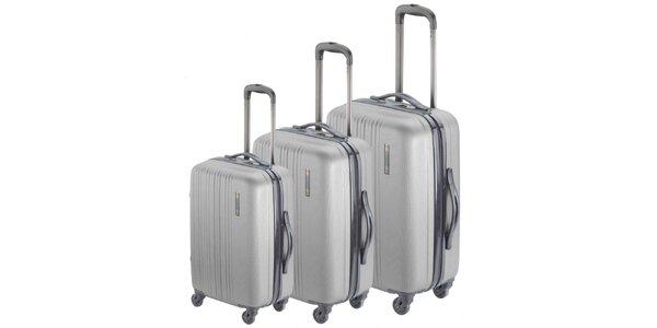 Set troch strieborných kufrov na koliečkach Valisa