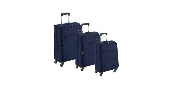 Set troch modrých látkových kufrov na koliečkach Valisa