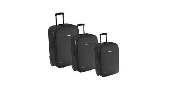 Set troch šedých látkových kufrov na koliečkach Valisa