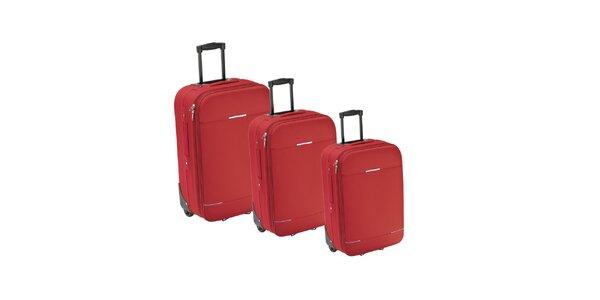 Set troch červených látkových kufrov na koliečkach Valisa