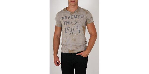 Pánske šedé tričko Pepe Jeans s potlačou