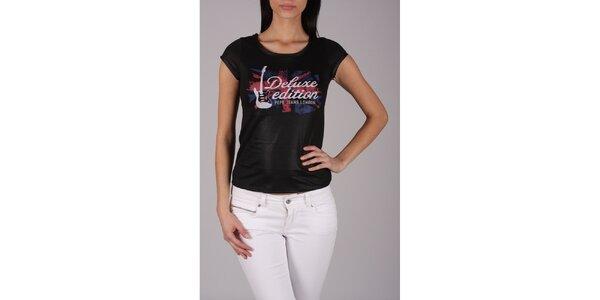 Dámske čierne rockové tričko Pepe Jeans s potlačou