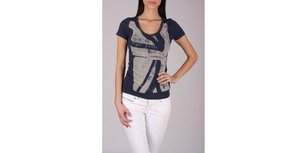 Dámske tmavo modré tričko Pepe Jeans s šedou potlačou