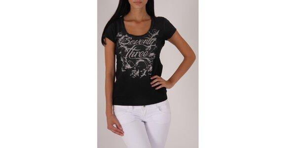 Dámske čierne tričko Pepe Jeans s šedou potlačou
