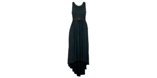 Dámske temno zeľané šaty s opaskom a asymetricky dlhú sukňu Pepe Jeans