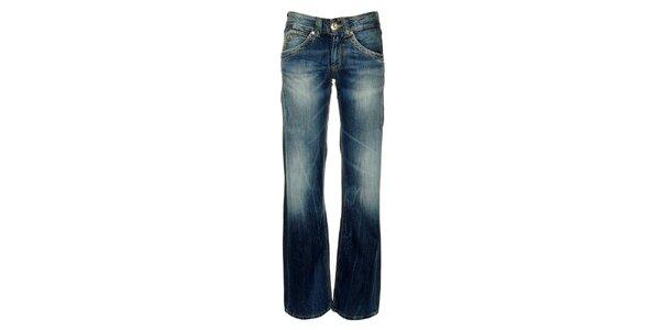 Dámske modré džínsy s ošúchanými prvkami Pepe Jeans
