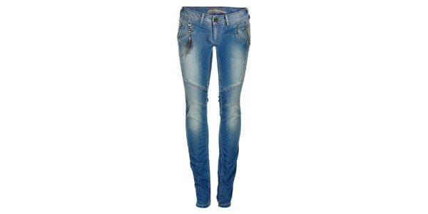 Dámske modré skinny džínsy s retiazkou a pierkom Pepe Jeans