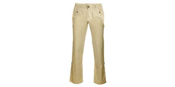 Dámske béžové ľanové nohavice TBS
