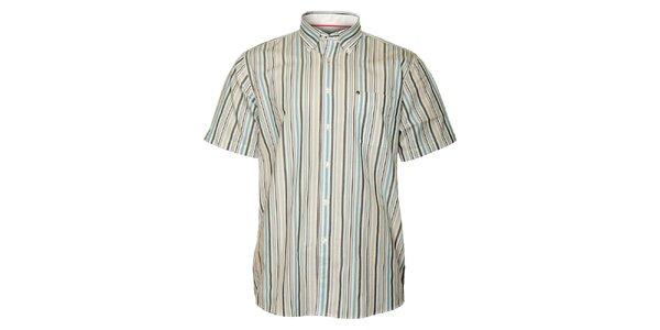 Pánska šedo-modrá prúžkovaná košeľa TBS