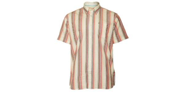 Pánska hnedo-ružová prúžkovaná košeľa TBS