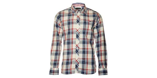 Pánska biela košeľa TBS s červeno-modrou kockou