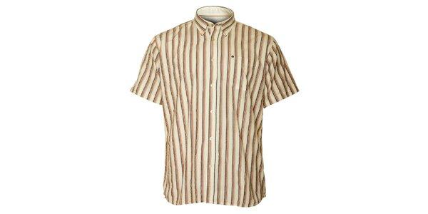 Pánska krémová prúžkovaná košeľa TBS
